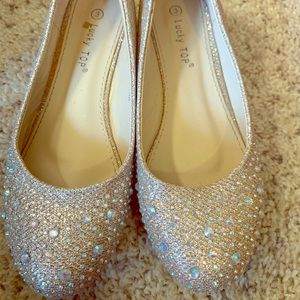 Shoes - Kids Champagne Wedge Shoes - Size 3